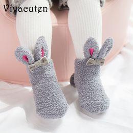 online store 0e354 5be43 Neugeborenes Baby warme Socken Säuglingskleinkindmädchen nette Krippe  Schuhe Winter Sapatos Meias Infantis Coral Samt dickes Mädchen Bunny Socken