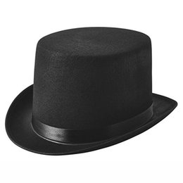 5fb847af731 Black Steampunk Hat Wool and PU Fedoras Mad Hatter Top Hat British  Gentleman Men Hats Magic Magician Caps SX