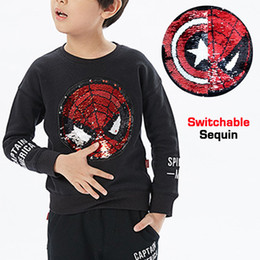 Children White Tees Australia - Spring Autumn Baby Tee Boys Sweatshirt Kids T Shirt Children Tops Spiderman Captain Switchable Sequin Embroidery 2 To 12 Yrs Y190518