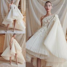 Wholesale thick long robe for sale - Group buy Luxury A Line Wedding Dresses One Shoulder Appliqued Thick Lace High Low Wedding Bridal Gowns robe de mariée Plus Size Wedding Dress