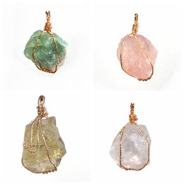 $enCountryForm.capitalKeyWord Australia - New Handmade Colorful Wire Wrapped Raw Natural Stone Women Pendant Necklace Amethyst Pink Quartz Dursy Crystal Necklaces