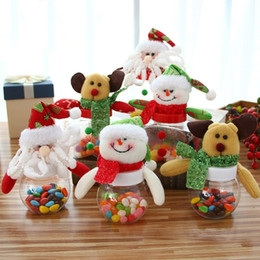 gift boxes christmas decorations 2019 - Plastic Candy Jar Christmas Theme Small Gift Bags Christmas Candy Box Crafts Home Party Decorations cheap gift boxes chr