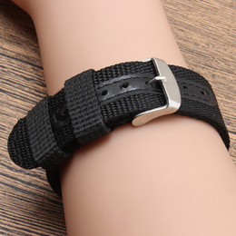 fabric nylon watch strap 2019 - Black Army Nylon Fabric Canvas Wrist Watch Band Strap 18 20 22 24mm 4 Color With Stainless Steel Buckle Exempt postage d