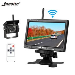 wireless rear view camera monitor Australia - Jansite 7 inch Car Monitor Wireless car display 2 Video Input DVD input Rear View Camera remote control 12-24V Bus Work