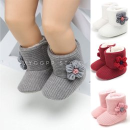 Fashionable Snow Boots NZ - Infant Toddler Baby Girls Fashionable Winter Warm Snow Boots Kids Thick Plush Boots Flower Decor Fur Shoes NEW