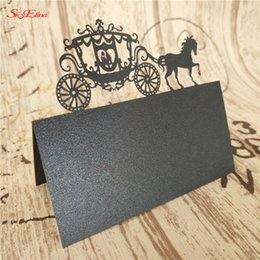 wedding cards Canada - 50Pcs lot Laser Cut Seat Cards Carriage Shape Wedding Decoration Place Name Cards Wedding Name Card Party Supplies 5Z-SH868