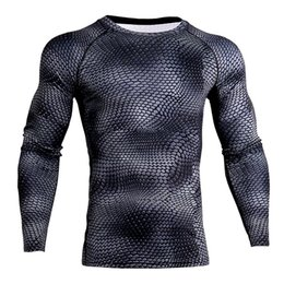 Long Sleeves Compression T Shirts Australia - 2019 3d Printed Gyms Fitness Joggers Long Sleeves T-shirts Elastic Compression Tight T Shirts Quick Drying Men Tees Droshipping