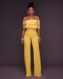 $enCountryForm.capitalKeyWord Australia - Yellow Jumpsuit Lace Playsuit Off Shoulder Summer Rompers Womens Jumpsuit Trousers Sexy Party Office Ladies Overalls Mono Mujer