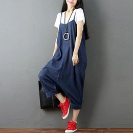 $enCountryForm.capitalKeyWord Australia - Zanzea Women Strappy Sleeveless Harem Romper Loose Dungarees Overalls Denim Blue Linen Suspender Jumpsuit Solid Bib Pants S-5xl Y19071701