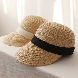 Ladies straw sun beach hat online shopping - Woman Tri Fold Equestrian Sun Hat Outdoor Lady England Ribbons Cap Fashion Travel Beach Straw Sunshade Hat LJJT673
