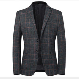 elbow patches NZ - Men's Autumn Winter Blazer Striped Jacket Elbow Patch Blazer Tweed Blazers Coat Business Casual Overcoat M-4XL