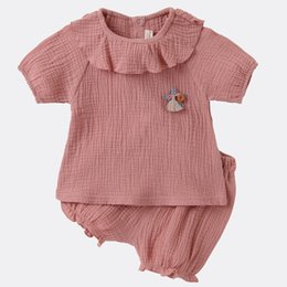 Organic Style Flowers UK - New INS Summer Kids Girls 2pieces Organic Cotton Ruffled Round Collar Solid Yellow Pink Pants Baby Suits Outfits With Star Toys Lovely Girls