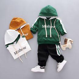Boys Long Shoes Australia - Autumn Fashion BoysClothes Suit Newborn Cotton Hooded Jacket Long Pants 2Pcs Sets Baby Clothes Set(Not Including Shoes)