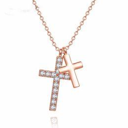 $enCountryForm.capitalKeyWord Australia - necklaces for women Fashion cross Pendant adjustable crystal jewelry Girl zircon rose gold charm necklace jewellery Gift