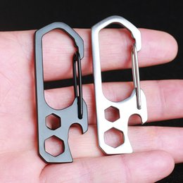 Wholesale 3 In Multi function Stainless Steel Carabiner Bottle Opener Outdoor EDC Gadget Key Hook Hex Wrench Outdoor Tools