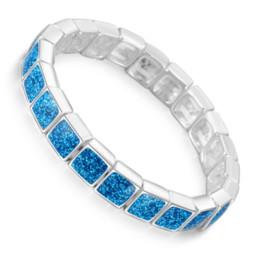9de05123d1e3 Sintético Azul Fire Opal Square Stone Pulseras Brazaletes para Las Mujeres  de Color Plata Pulsera Joyería de Moda Regalo del Día de San Valentín