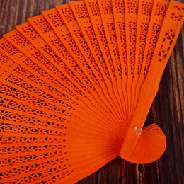 paper fan flower decorations UK - 8 Inch Chinese Japanese Folding Fan Original Wooden Hand Flower Bamboo Pocket Fan For Home Decor Party Decoration