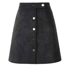 $enCountryForm.capitalKeyWord Australia - Suede Women Button Mini A Line Skirt High Waist Black Vintage Style 2019 Winter Wrap Ladies Short Skirt Tutu Saia S1001