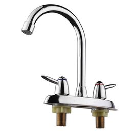kitchen tap two faucet UK - Swivel Bathroom Kitchen Faucet Chrome Two Handle Hot Cold Sink Mixer Tap Sprayer