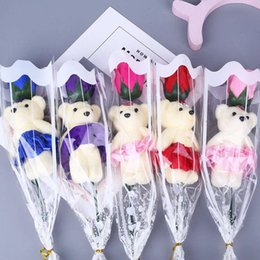Wholesale Cartoon Soaps Australia - Romantic Valentine's Day Creative Gifts Bear Rose Flower Soap Cartoon Bouquet Party Wedding Decoration MMA1268