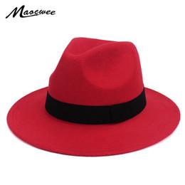 Chapeu floppy hat online shopping - Black Jazz Fedoras For Women Vintage Wide Brim Fedora Hat Floppy Cloche Men Gangster Hat Chapeu Casual Solid Pink Red Bones D19011102