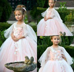 Girls white short sleeve online shopping - Princess Puffy Sleeve Flower Girl Dresses Daughter Beads Birthday Toddler Kids Pageant First Communion Dress Long Baby Prom Dresses
