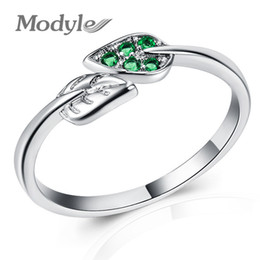 $enCountryForm.capitalKeyWord Australia - Modyle 2018 Silver Color Dancing Leaves Leaf Green Dazzling CZ Finger Rings for Women Engagement Jewelry Anel Gift
