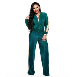 4698630e56 ladies sexy fashion casual zipper up jackets straight long pants two piece  set tracksuit casual outfits women clothes