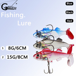 Soft Jigs NZ - 12pcs 3D Eyes Lead Fishing Lures with T Tail Soft Fishing Lure Single Hook Baits Artificial Bait Jig Wobblers 6cm 8g  8cm 15g Isca
