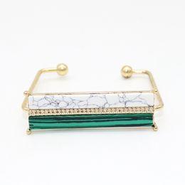 $enCountryForm.capitalKeyWord Australia - Wholesale 6pcs Set Baguette Bar Stone Bracelet Bangle For Men Women Adjustable Open Cuff Boho Art Deco