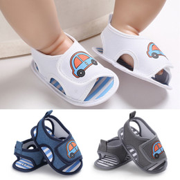 Chinese  Newborn Baby Boys Girls Summer Sandals Cute Cartoon Car Print Soft Sole Crib Shoes Clogs Toddler Prewalker Sandals Shoes manufacturers