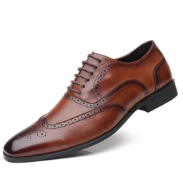 $enCountryForm.capitalKeyWord Australia - New High Quality Genuine Leather Men Brogues Shoes Lace-Up Bullock Business Dress Men Oxfords Shoes Male Formal Shoes Large size 38-48