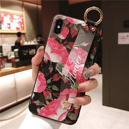 $enCountryForm.capitalKeyWord NZ - Wrist Strap Soft TPU Phone Case For iphone X Xs max XR Case For iphone7 8 plus Flower Pattern Phone Holder Case