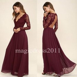 Chinese  2019 Lace Bodice Burgundy Bridesmaid Dresses Chiffon Skirt Illusion Bodice Long Sleeves A-Line Junior Bridesmaid Dresses Cheap for sale manufacturers