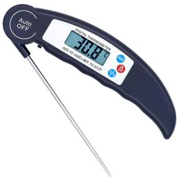 real time display UK - Cooking Electronic Thermometer Foldable Digital Display Probe Barbecue Thermometer Meat Liquid Real-time Temperature Detection