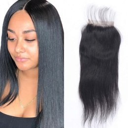 $enCountryForm.capitalKeyWord Canada - Mongolian Human Hair Straight Lace Closure with Baby Hair Natural Color Virgin Hair Free Part Closure Pieces Ping