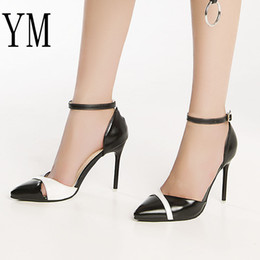 Hot Sexy White Dresses Australia - Dress Shoes Hot 2019 Fashion Women High Heels Stiletto Ankle Strap 6 10cm Sexy Pumps Black Thin Heel Buckle White Hollow Bridal 34-40