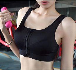 $enCountryForm.capitalKeyWord Australia - Women Sport Bra Running Front Zipper Moverment Bra Yoga Padded Fitness Tops Tank Cycling Workout Sport Bra 3 Sizes Bodice
