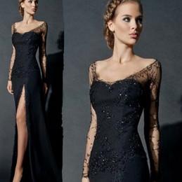 $enCountryForm.capitalKeyWord NZ - Vestidos Fashion Black V-nec Lace A-ine Long Prom Dresses 2019 Elegant Long Sleeves Backless Split Evening Dress Formal Party Dresses