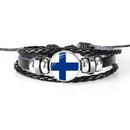 $enCountryForm.capitalKeyWord UK - High Quality Simple Finland National Flag World Cup Football Fan Time Gem Glass Cabochon Leather Rope Beaded Bracelets For Women Men Jewelry