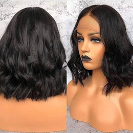 $enCountryForm.capitalKeyWord Australia - Glueless Virgin Brazilian Wavy Short Cut Human Hair Lace Front Wigs Full Lace Wigs For Black Women Bob Style wig Free shipping