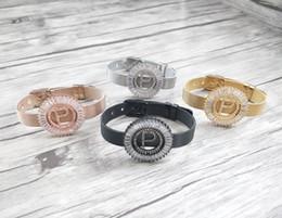 $enCountryForm.capitalKeyWord NZ - 4Pcs Copper mirco pave cz zircon letter P Pendants,Chic circle Fashion Charms big initials Strap bracelet Women Jewelry Findings BG207