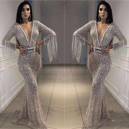 $enCountryForm.capitalKeyWord Australia - Sparkly Silver Prom Dresses Bling Bling Sequined Mermaid Evening Gowns Deep V Neck Long Sleeves With Tassel Arabic Formal Party Dress