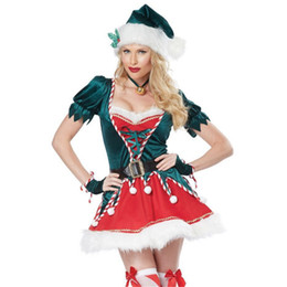 81b30b666b7a new high quality Sexy Green christmas tree Dress Green Xmas Clothing Santa  Claus Cosplay clothes for women Christmas Party Dress