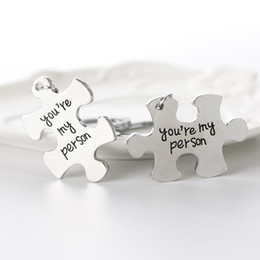 $enCountryForm.capitalKeyWord NZ - Free DHL 2 PCS Set Puzzle Couple Keyring You Are My Person Keychains For Lovers Key Rings Car Key Holder Best Friends Christmas Gift D608S F