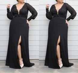 $enCountryForm.capitalKeyWord Australia - Deep V-neck Black Evening Dresses Formal 2019 With Sleeves Long Sexy Slit Lace Chiffon Prom Dress Special Occasion Dress Women Custom Made