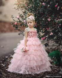 Gown Girls White Rose Australia - Pretty Pink Girls Layers Cupcake Flower Girl Dresses 2019 New Lace Cap Sleeves Rose Flowers Tutu Skirt Long Formal Pageant Party Gowns