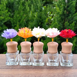 8ml glass bottles Canada - 8ML Transparent Glass Car Perfume Air Conditioning Outlet Tuber Car Perfume Bottle with Wooden Cap F2698