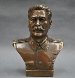 russian blocks NZ - Copper Brass craft collecting OLD copper decoration BRASS 6'' Elaborate Russian Leader Joseph Stalin Bust BRASS Statue sculptu