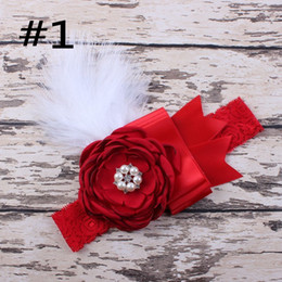 vintage flower wholesale headbands Canada - free shipping 20pcs Flower Baby Headband Girls Headband Lace Feather Headband Shabby Chic Vintage Headbands girl hair accessories